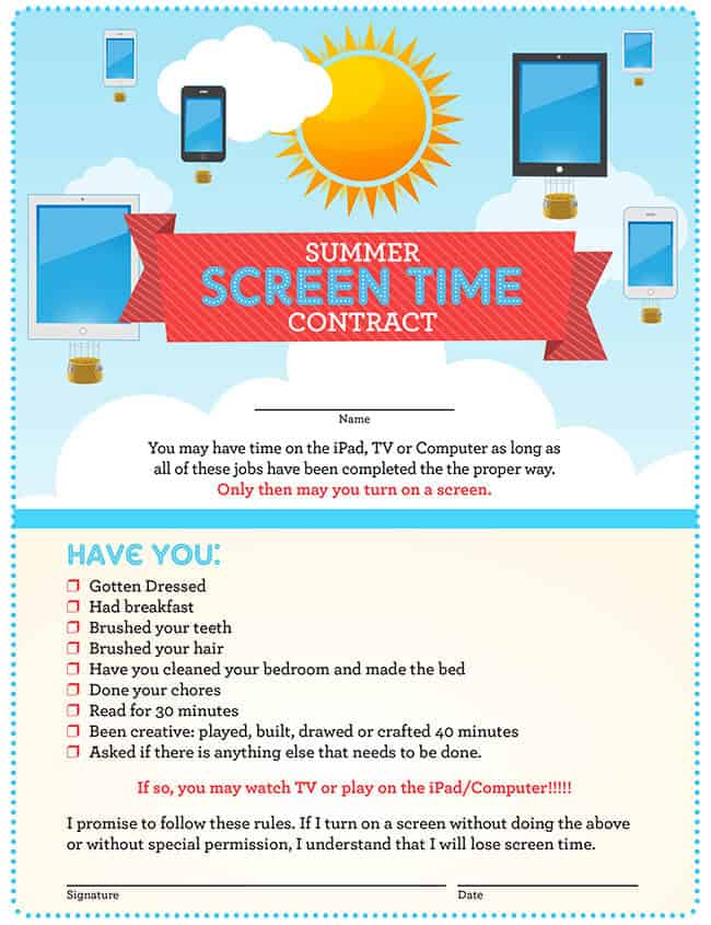 Summer Screen Time Contract