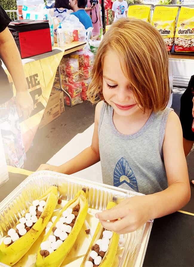 Kids Making Banana Boats