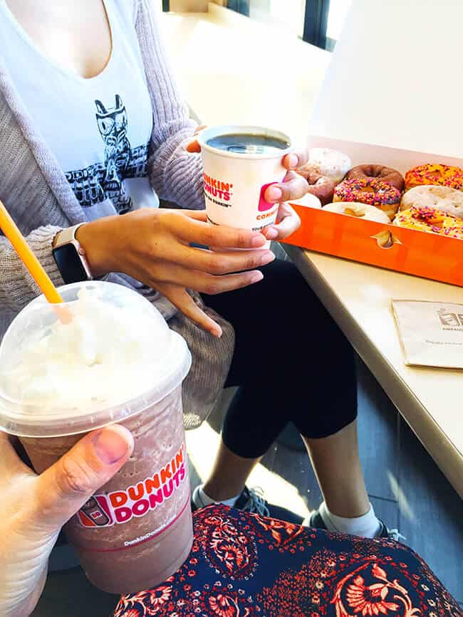 enjoying-dunkin-donuts-with-friends