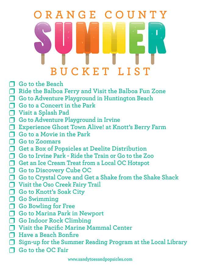 Orange County Summer Bucket List