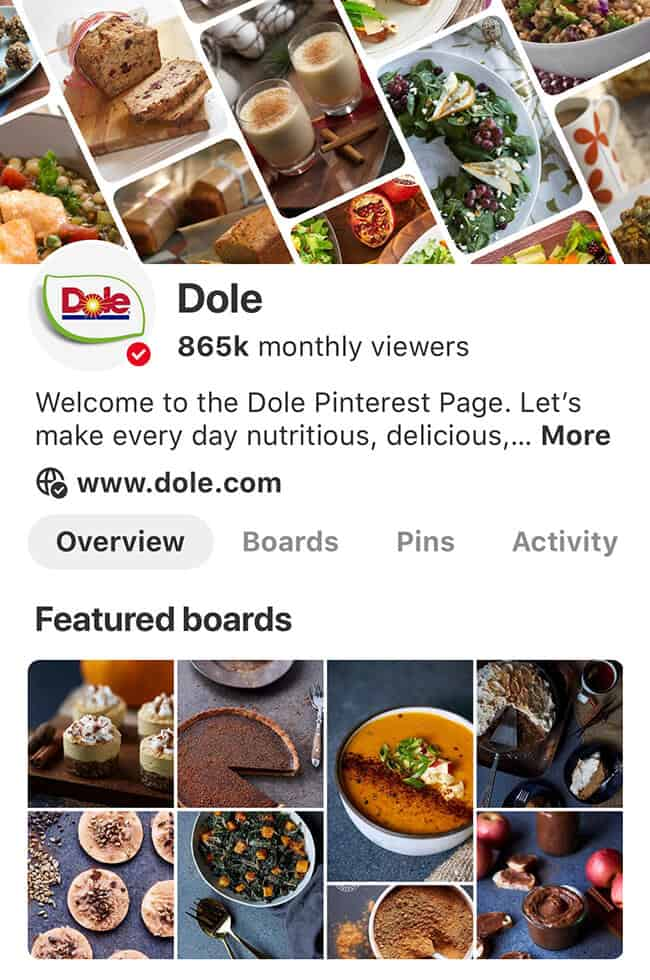 Dole Pinterest Page Recipes