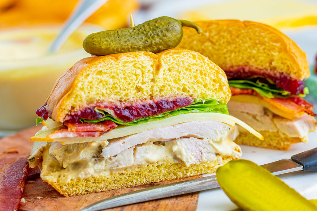 leftover turkey Sandwich with Muenster Cheese