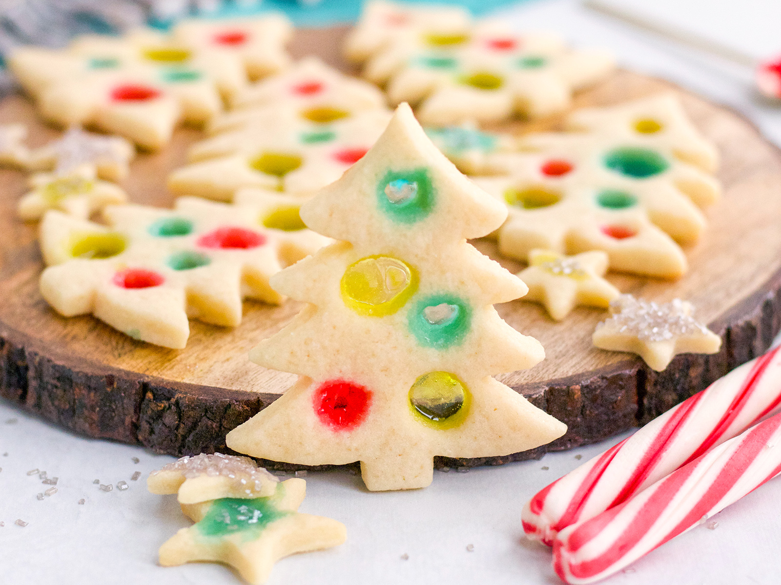 Stained Glass Christmas Tree Cookies